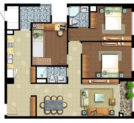 3 phòng ngủ 101.5 m²