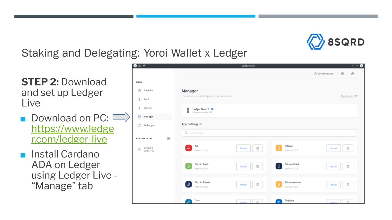 Setting up Ledger Live and downloading Cardano App