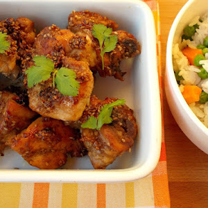Bittersweet Chicken With Sesame Seeds, and Rice with Peas and Carrots