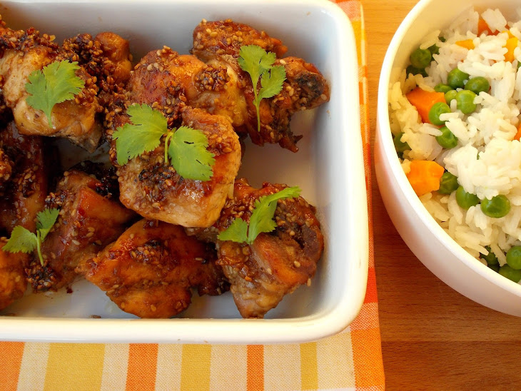 Bittersweet Chicken with Sesame Seeds, and Rice with Peas and Carrots Recipe