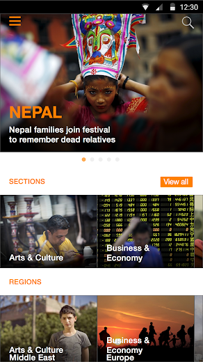Screenshot 2 for Al Jazeera's Android app'