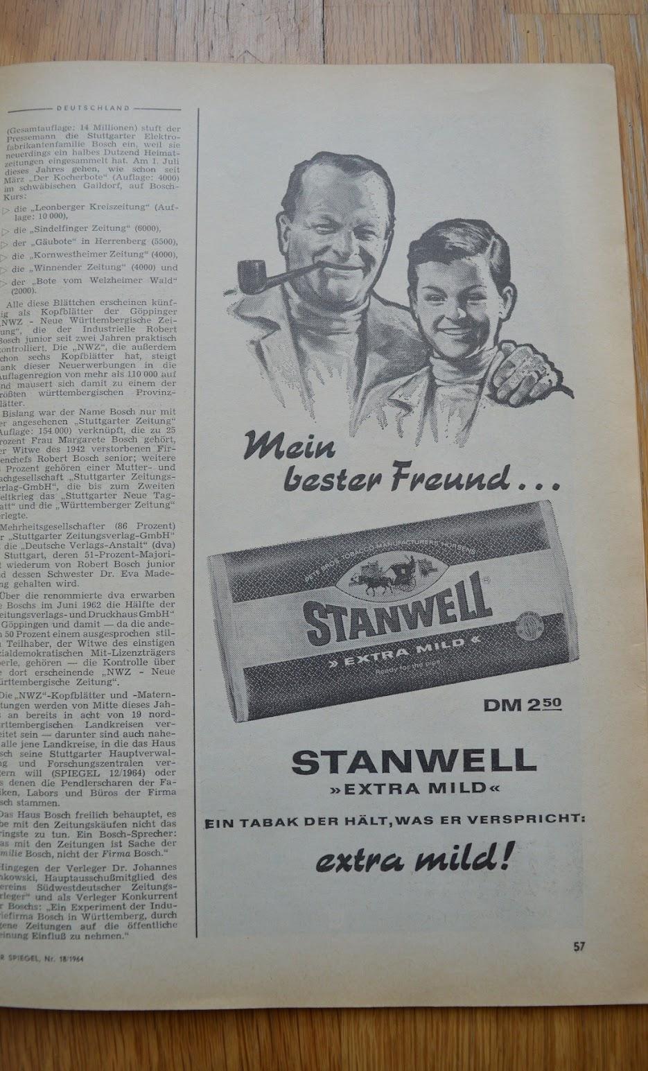 DER SPIEGEL, 29. April 1964 - Werbung für Tabak
