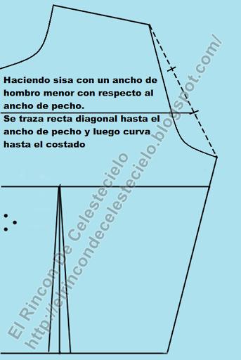 Trazando sisa con ancho de pecho amplio en patrón de corpiño delantero