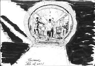 Photo: 食為天2011.02.28鋼筆 由於監獄男女嚴為分界,員工餐廳雜役將職員便當送到了女監管制口,接下來就由女監同仁和接手…