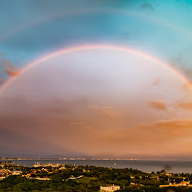 Double Rainbow in Mexico by John Pounder - Landscapes Cloud Formations ( double rainbow, nayarit, sunset, mexico, nuevo vallarta, double, rainbow, la cruz )