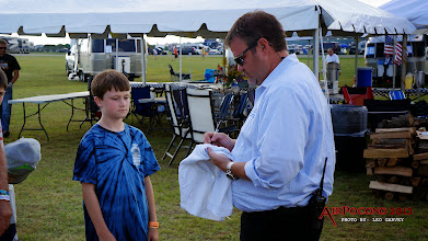 Photo: Track President Brandon Igdalsky stopped by to sign autographs for the kids and to check on the adults too.