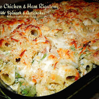 Baked Alfredo Chicken And Ham Rigatoni With Spinach And Artichokes.