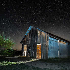 The Lights are On and No One is Home by Ed Mullins - Buildings & Architecture Decaying & Abandoned ( shed, barn, stars, abandoned,  )