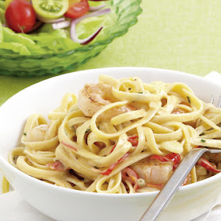 Shrimp Linguine with Chili Butter Sauce.