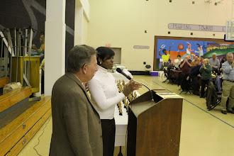 Photo: Commissioner Susan Slawson celebrates Stu Greenberg.