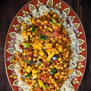Cumin-Infused Vegetables and Chickpeas over Quinoa.