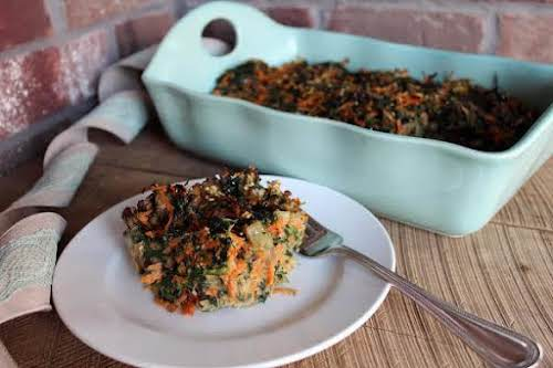 """Savory Spinach Carrot Mushroom Kugel or Appetizer """"This is my own version..."""