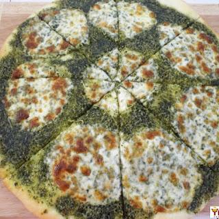 Pesto Provolone Pizza.