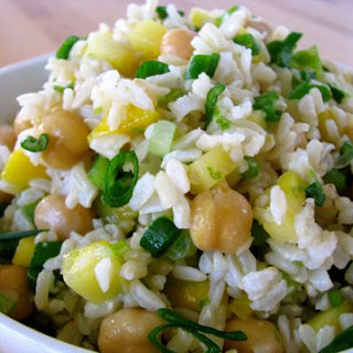 Rice And Chickpea Salad with Balsamic Vinaigrette.