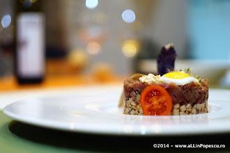 Photo: Tartar de Vita cu Ciuperci King Oister, Ou de Prepelita si Sorici de Porc Deshidratat
