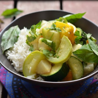 Thai Green Curry with Turnips and Summer Squash.
