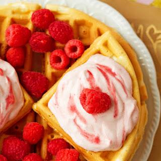 Raspberries and Cream Greek Yogurt Waffles.