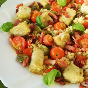 Couscous With Bacon And Croutons of Goat Cheese With Basil Oil