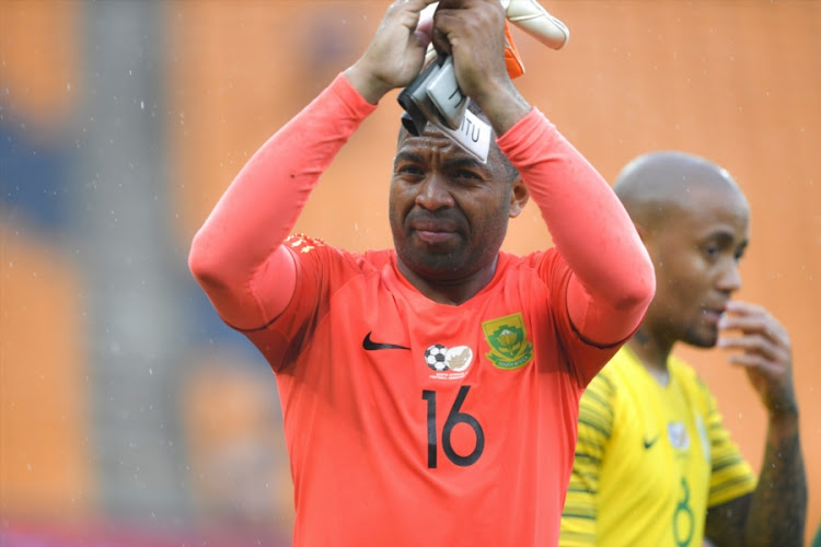 Bafana Bafana goalkeeper Itumeleng Khune applauds the fans after the 2019 Africa Cup of Nations qualification match between South Africa and Seychelles at FNB Stadium on October 13, 2018 in Johannesburg.