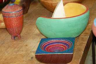 "Photo: Tina Chisena 4 5/8"" x 2 1/4"" multi-axis square bowl [locust], & 3 1/8"" x 5 5/8"" footed hollow form [maple], both with dyes and paints"