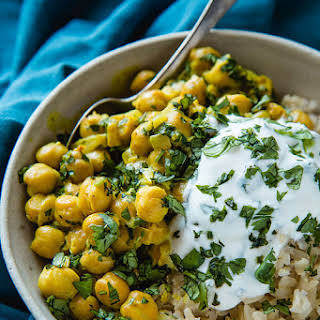 Vegetarian Chickpea Curry with Tangy Mint Yogurt Sauce.
