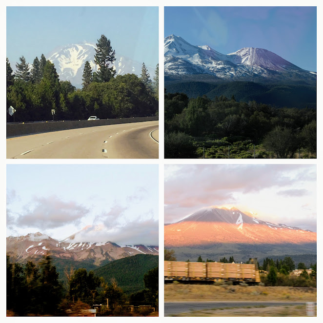Mt. Shasta at different time from different locations