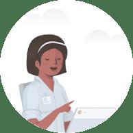 Woman using a Chromebook