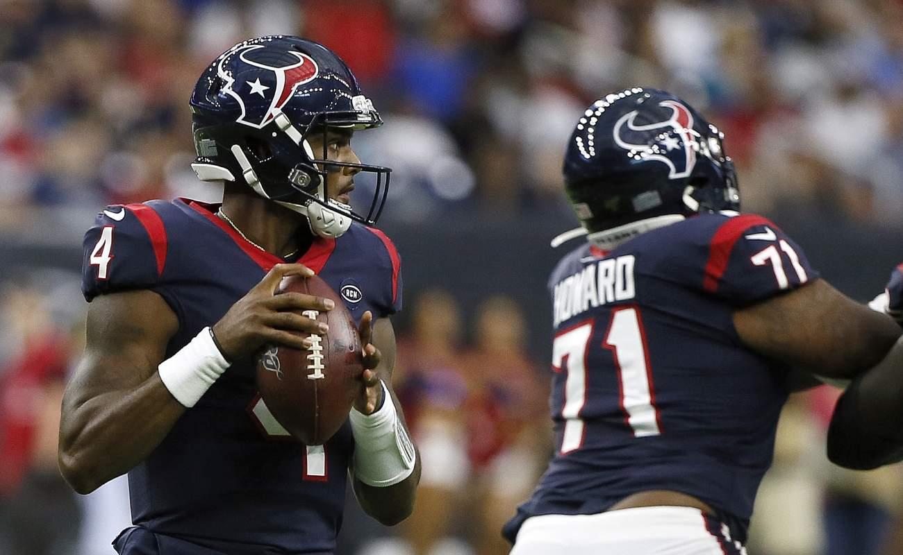 Deshaun Watson of the Houston Texans looks for a receiver.