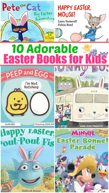 10 Adorable Kids Easter Books! Fun titles your kids will love, with some familiar faces like Pete the Cat, Pout-Pout Fish, Minnie Mouse, and more