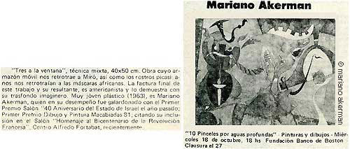 "Photo: Teresita Pociello, ""Mariano Akerman,"" ÓLEO Y MÁRMOL, Buenos Aires, 12-23 September 1989, p. 3, featuring ""Three Figures before a Window."" http://hola-akermariano.blogspot.com/2012/05/blue-chip-magazine.html ; http://akermariano.blogspot.com/2012/12/mariano-akerman.html"