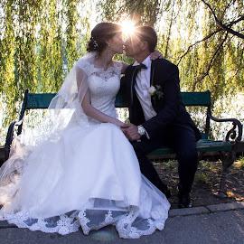In the sunlight by Panait Sorin - Wedding Bride & Groom ( canon, park, wedding, sunlight, light )