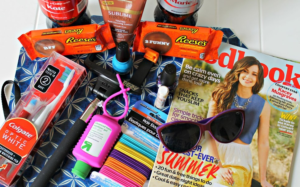 Summer Must Have Essentials make a great BFF gift! Fill it with magazines, antibac, hair elastics, a selfie stick, BFF REESE'S cups, Coke with their name on the bottle & more!