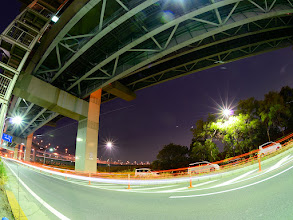 Photo: ■Today's Elevated Expressways This photo is taken by +Takahiro Yanai ! A from of the edge of Central Circular Route (首都高速中央環状線)... :D 今日の高架道路をご紹介します。 久しぶりに自分のを・・・。笑 ここから始まりました、葛西ジャンクションへの入口です。 +Elevated Expressways  #elevatedexpressways #architecture #nightphotography #nightshot #fisheye