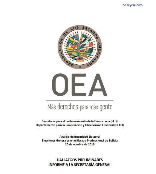 Informe OEA: Análisis de Integridad Electoral Elecciones Generales en el Estado Plurinacional de Bolivia 20 de octubre de 2019 (PDF)