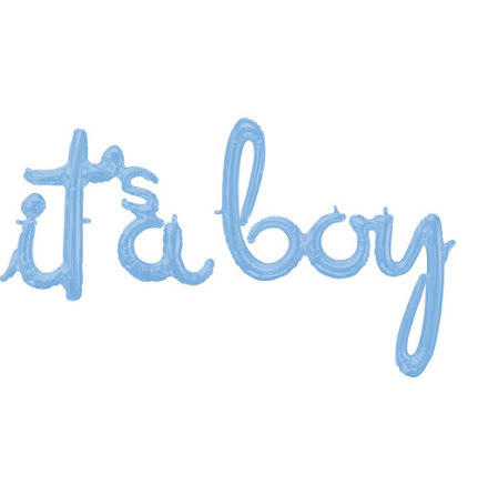 Folieballong -it´s a boy, ljusblå