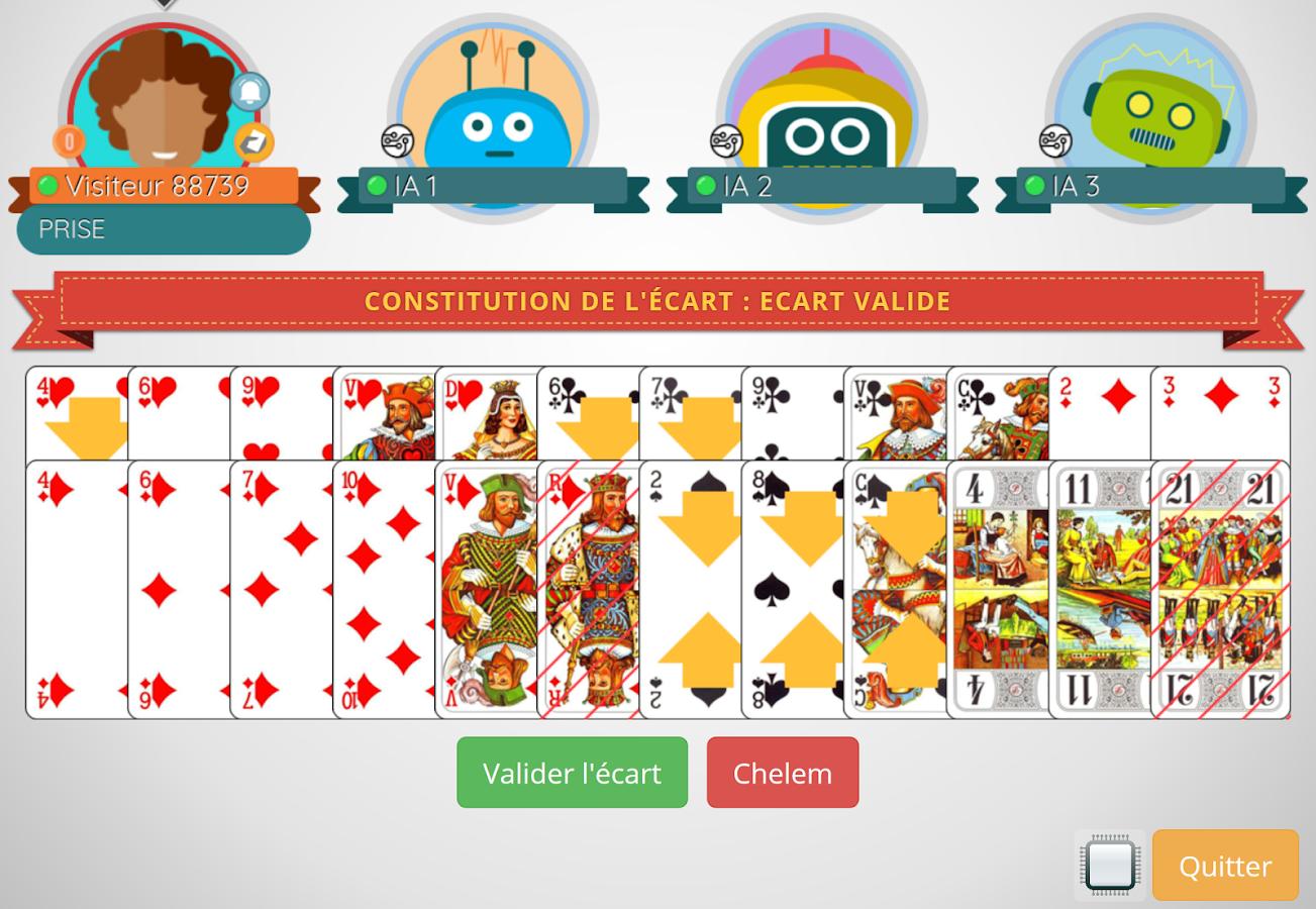 jeu de tarot 4 ou 5 joueurs android apps on google play. Black Bedroom Furniture Sets. Home Design Ideas