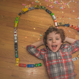 A Boy & His Cars by Chris Cavallo - Babies & Children Child Portraits ( car, valentine's, hearts, girl, red, toy, maine, confetti, candy, truck, pink, balloons, portrait )
