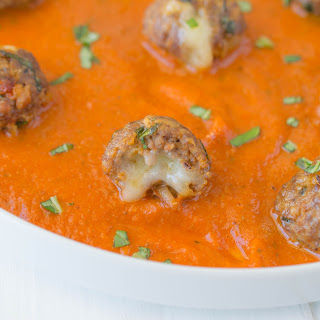 Cheese Stuffed Mini Meatballs.