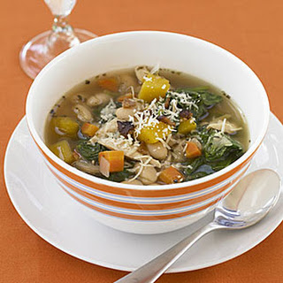 Tuscan Chicken, Bean and Spinach Soup.