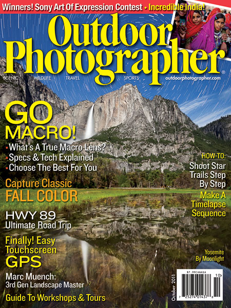 Photo: My Yosemite star trails reflection photo on the cover of Outdoor Photographer Magazine, October 2011.