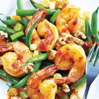 Hoisin-Chile Shrimp with Green Beans & Walnuts