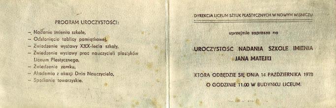 Photo: 14.10.1978 Zaproszenie na uroczystość nadania szkole imienia Jana Matejki