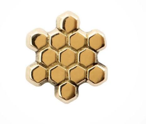 """14k """"Honeycomb"""" , threadless"""