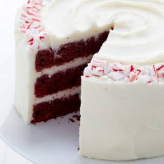 Red Velvet Layer Cake with Peppermint Cream Cheese Frosting.