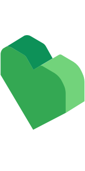 "A green heart logo, representing ""it's cool to be kind"""