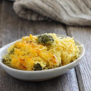 Broccoli Cheddar Spaghetti Squash Bake