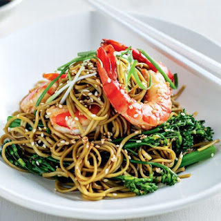 Green Tea Noodles With Prawns And Broccolini.