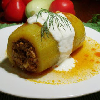Stuffed White Zucchini With Tomato Sauce and Dill