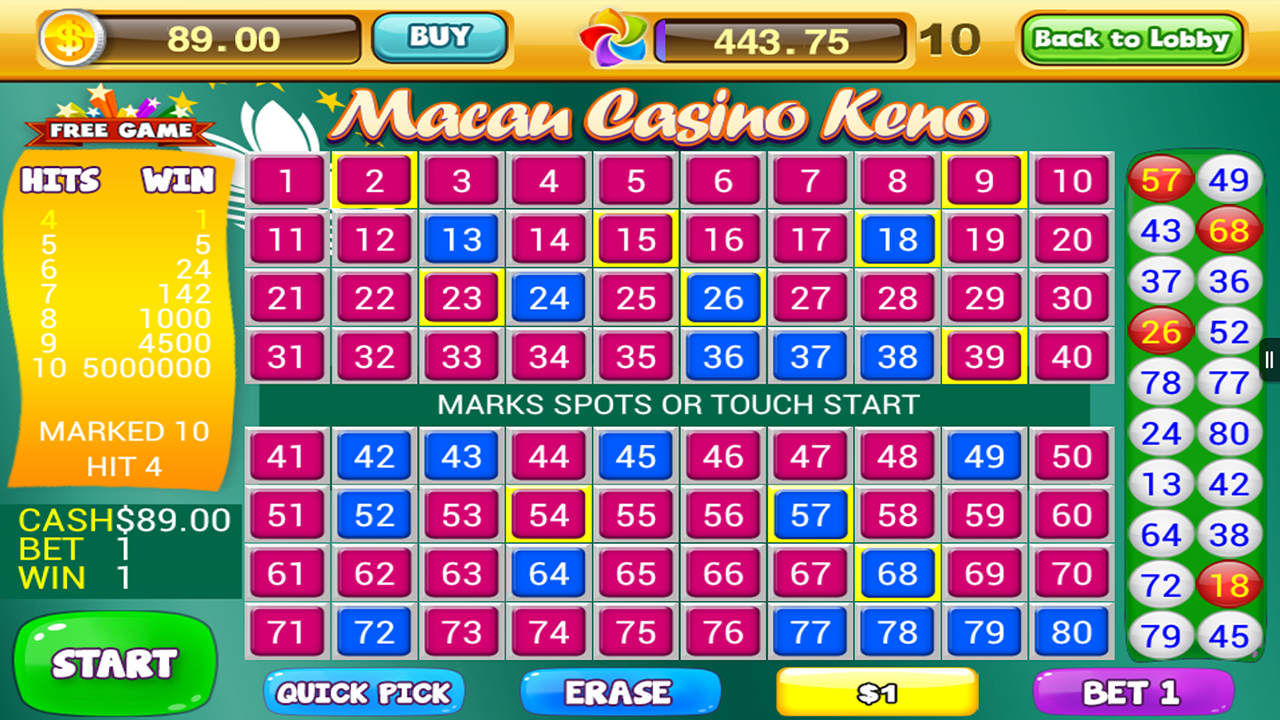 Play Keno Arcade Game at Casino.com UK