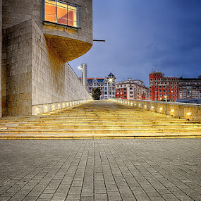 The Stairs by Luca Libralato - Buildings & Architecture Public & Historical ( bilbao, guggenheim, night, spain, city )